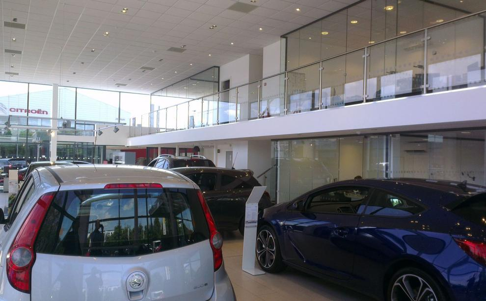 View of the interior of the showroom