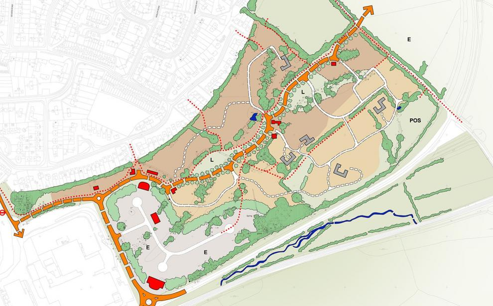 Outline of the overall development of 450 homes and 4 ha of employment