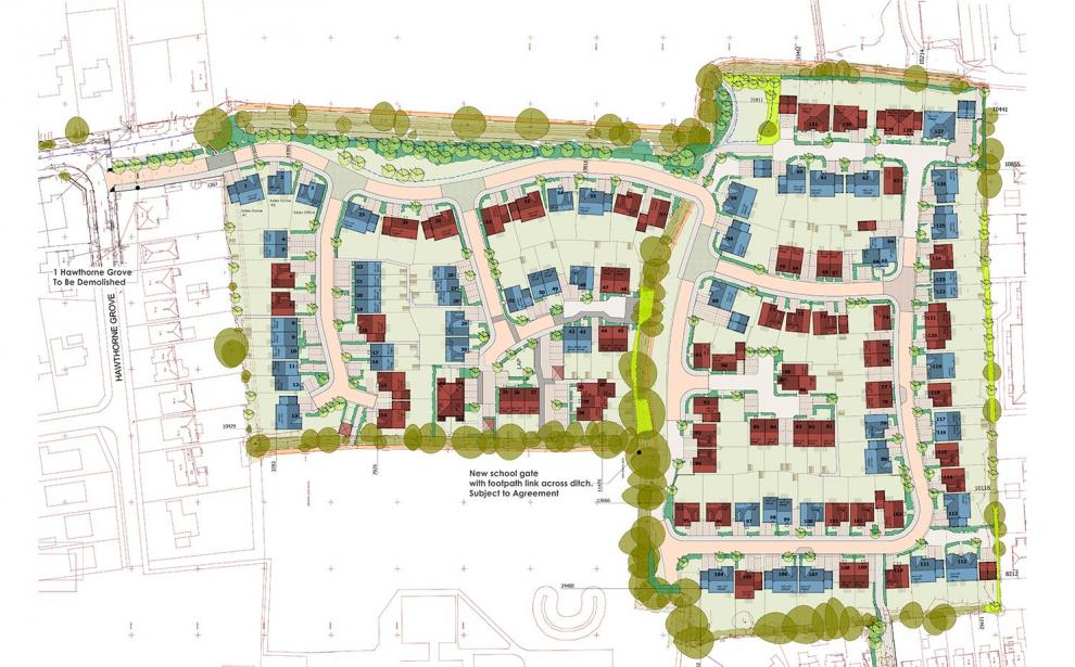 Proposed layout of the 131 new houses currently on site